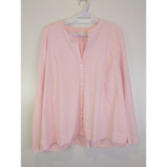 J.Jill Pink Front Button Long Sleeve Top XL